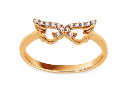 Gold ring with zircons Angel wings