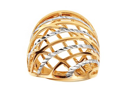 Two-tone gold celtic ring with engraving