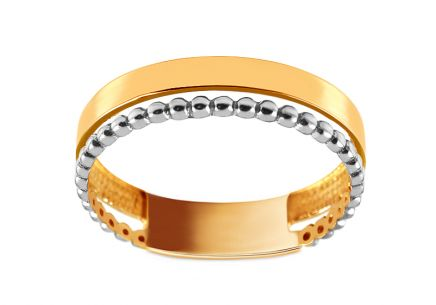 Gold double ring with beads