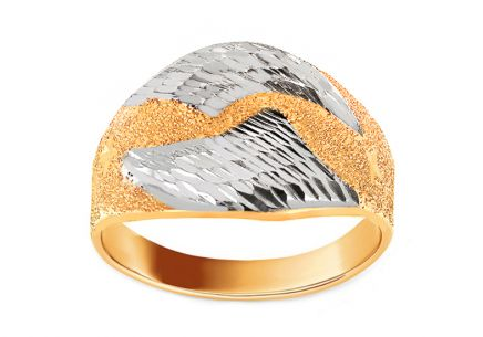 Two-tone ladies gold ring