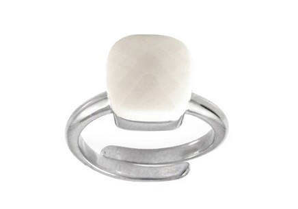 Silver Rhodium plated lady's ring with White stone