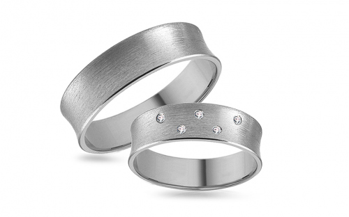 Romantic white gold wedding rings with stones - RYOB175