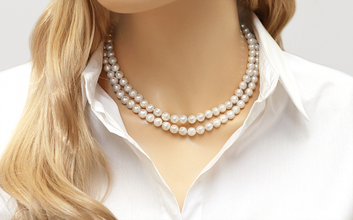 Double Row Pearl Necklace - IS584P