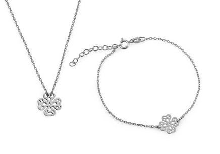 Rhodium plated Silver set Bracelet and Necklace decorated cubic zirconia