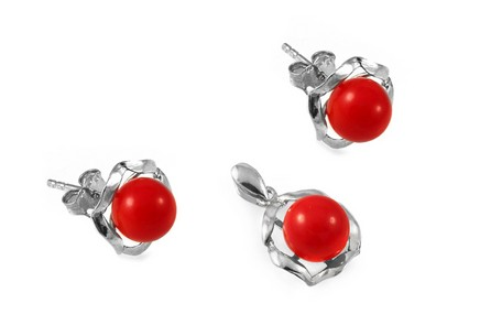 925Sterling Silver set with red pearls Earring and Pendant