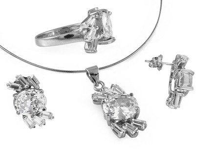 Rhodium plated silver earrings&pendant set with Cubic zirconia (CZ)