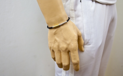 Silver and Rubber Bracelet - IS225 - on a mannequin