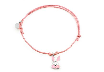 Silver pink cord baby bracelet Bunny - IS2163R