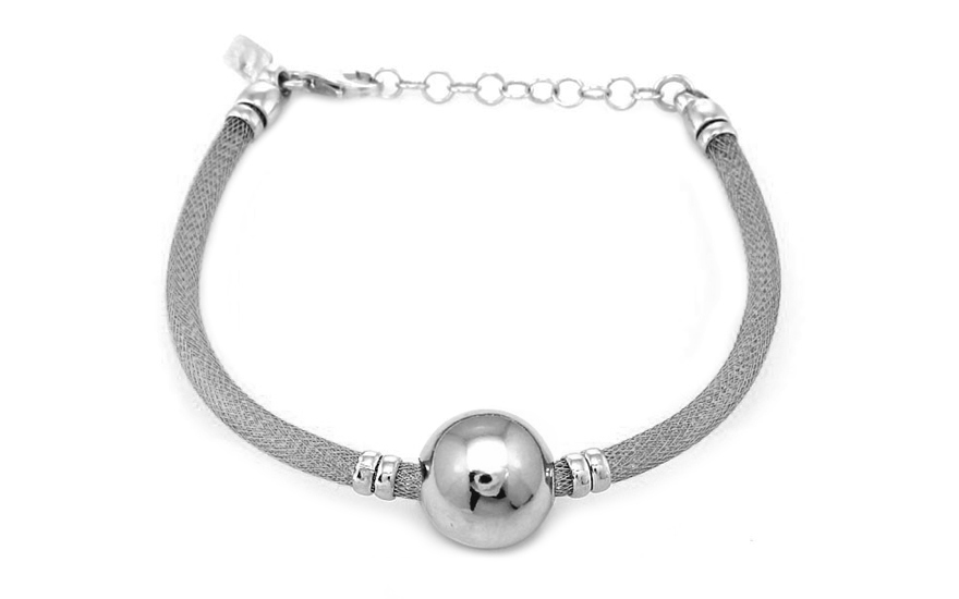 Rhodium plated Silver bracelet with ball design - IS362A