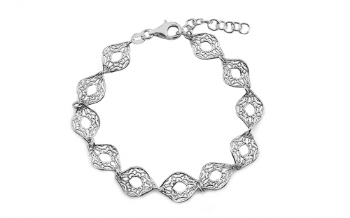 Silver bracelet with filigraned pattern - IS3865
