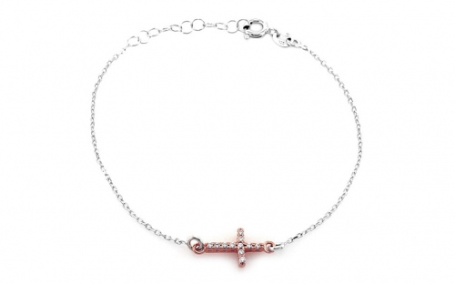 Sterling Silver bracelet with gold plated cross - IS467N