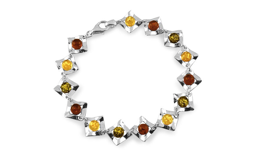 Silver bracelet with tri-color amber - IS2869F