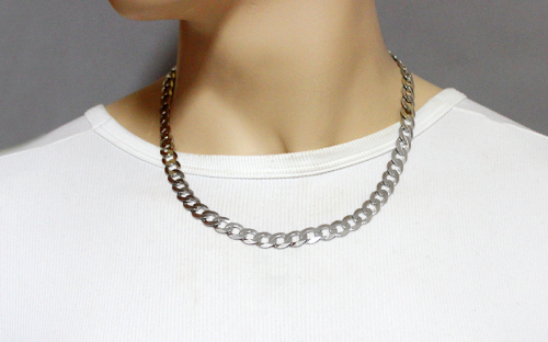 Rhodium plated Silver chain armor design - IS171