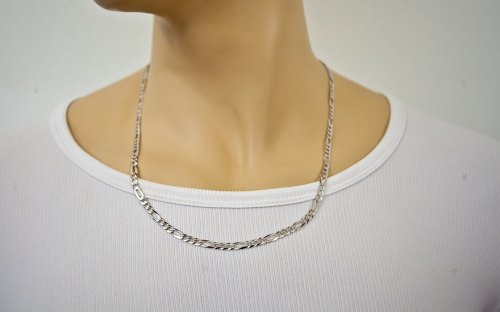 Rhodium plated Silver chain Figaro - IS236