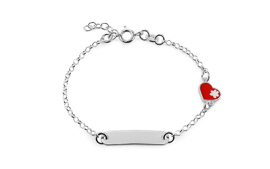 Silver children's bracelet with plate and heart - IS2532