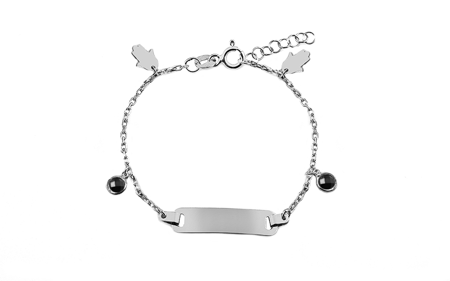 Silver children's bracelet with plate and pendants - IS3522