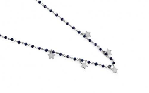 Silver Choker necklace with four-leaf clover and metallic blue stones - IS2712B
