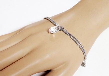 Silver double row bracelet with drop - IS2508N