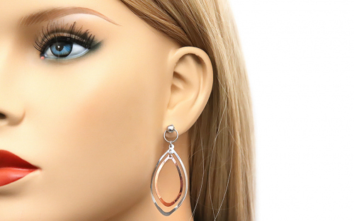 Silver Drop Earrings - IS250R - on a mannequin