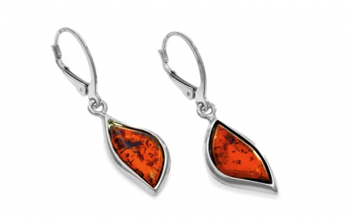 Silver Drop Earrings with Amber  - IS103