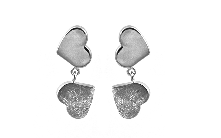925Sterling Silver earrings with hearts design - IS779