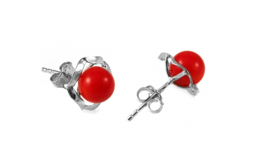 925Sterling Silver flower earrings with red pearl - IS926P