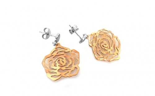 Sterling Silver earrings with rose pink gold-plating rose design - IS370R
