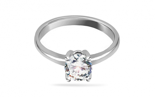 Silver engagement ring with zircon - IS2949