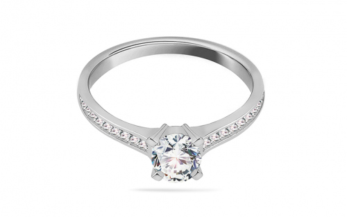 Rhodium plated Sterling Silver ring designed with cubic zirconia - IS4006