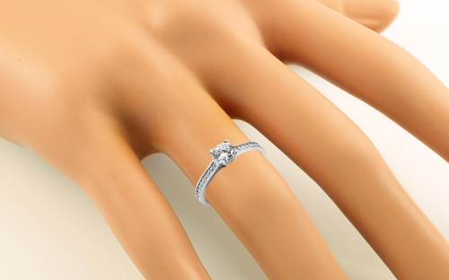 Rhodium plated Sterling Silver ring designed with cubic zirconia - IS4006 - on a mannequin