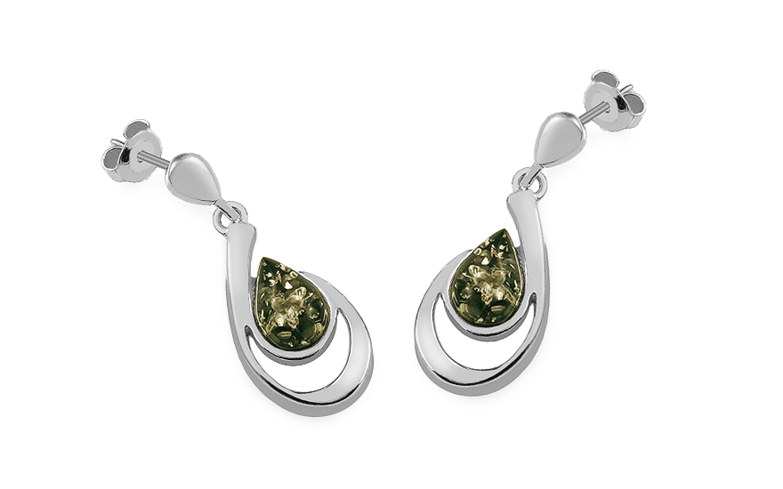 Silver hanging Drops earrings with green amber - IS2686Z