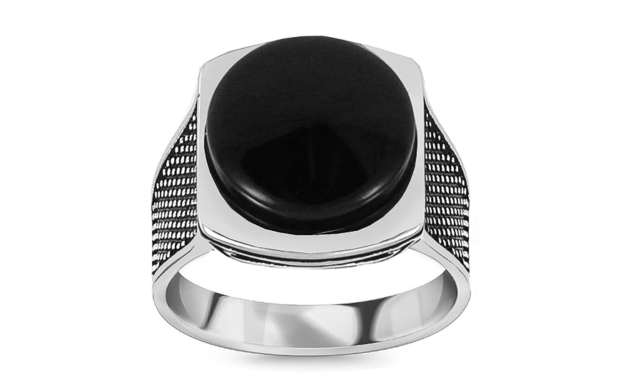 Silver men's ring with black stone - IS2983