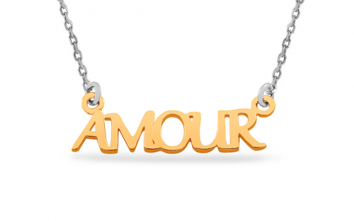 Rhodium plated silver Necklace and 14k goldpated Amour pendant