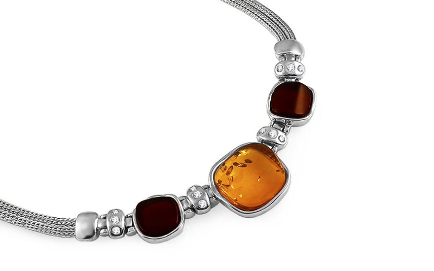Silver necklace with amber - IS2651