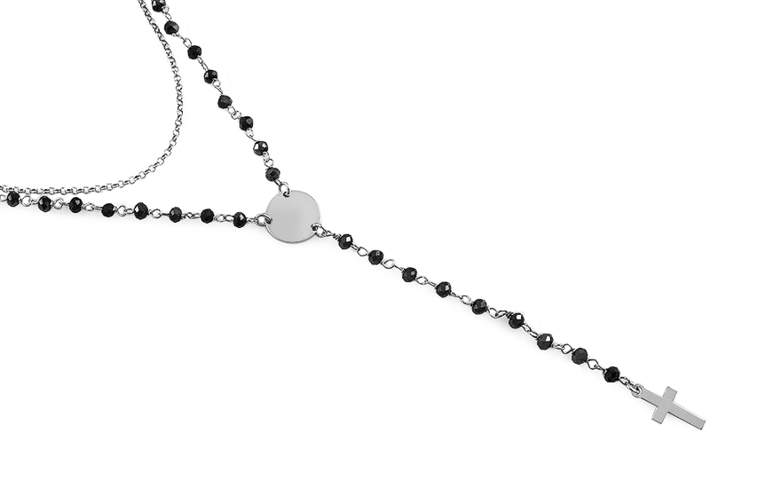 Silver necklace with black stones of rosary - IS2717