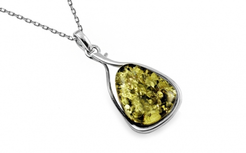 Silver necklace with green amber - IS1988