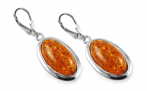 Silver oval hanging earrings with amber - IS2026N
