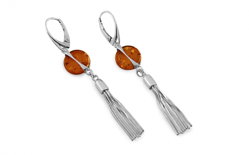 Amber button tassel silver earrings - IS2678C