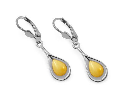 Silver pendant earrings with yellow amber - IS2454Z