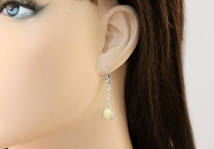 Silver pendant earrings with yellow amber - IS2455