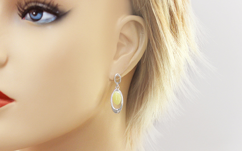 Silver pendant earrings with yellow amber - IS2669Z