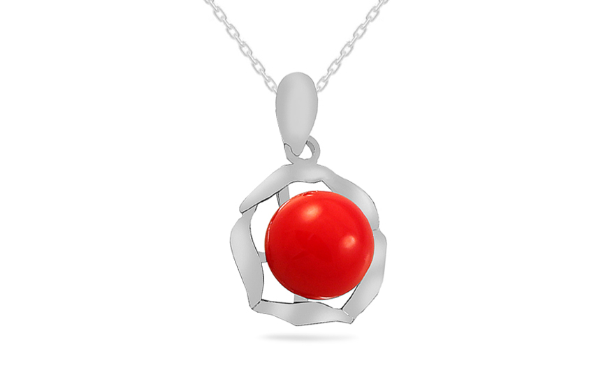 Rhodium plate 925Sterling Silver pendant with red pearl - IS770P