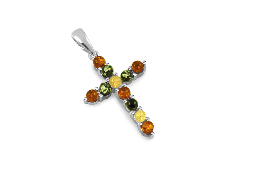 Silver Cross pendant with multi color amber  - IS2811BM