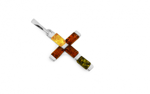 Silver Cross pendant with multi color amber - IS2826F