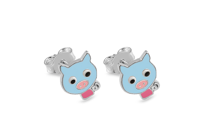Silver stud Childrens Earrings Pigs - IS2412M