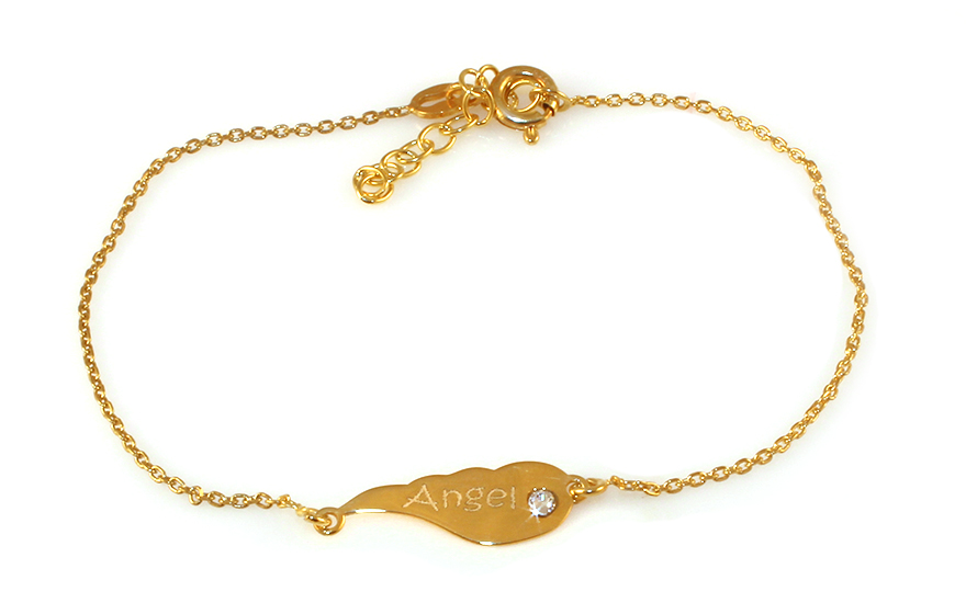 Gold-plate 925Sterling Silver women's bracelet with Angel - IS961