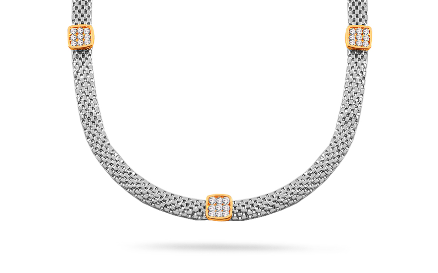 Rhodium plated 925Sterling Silver necklace combined gold-plated design decorated with  zirconia