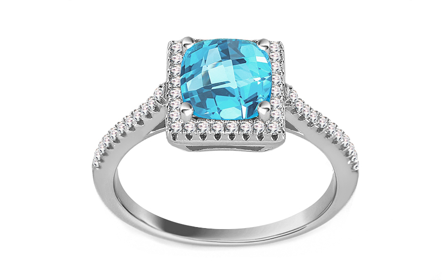 Silver ring with blue and clear zircons - IS2785M