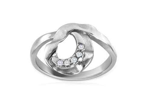 Rhodium plate 925 Silver ring decorated with cubic zirconia - IS797