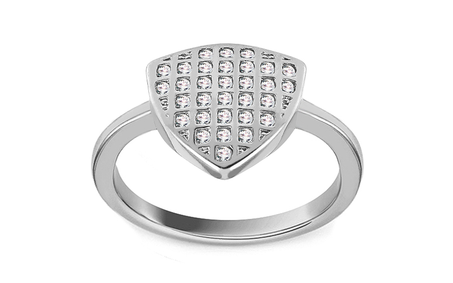 Rhodium plate 925 Silver ring decorated with cubic zirconia - IS3240